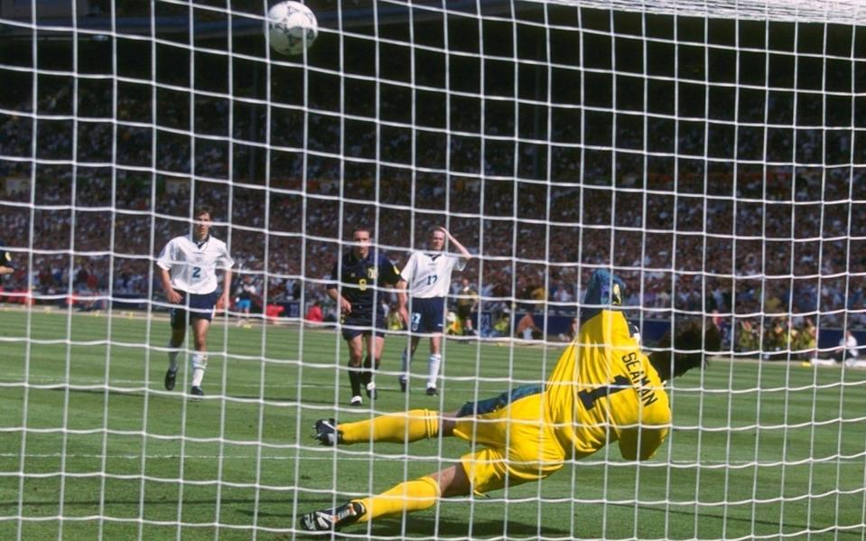 Goalkeeper David Seaman of England saves a penalty from Gary McAllister of Scotland - Mike Hewitt/Getty Images