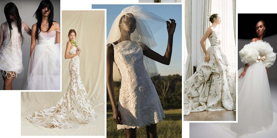 "<p class=""body-dropcap"">This year proved that <a href=""https://www.harpersbazaar.com/wedding/planning/g34961436/2021-wedding-trends/"" rel=""nofollow noopener"" target=""_blank"" data-ylk=""slk:wedding celebrations aren't all about"" class=""link rapid-noclick-resp"">wedding celebrations aren't all about </a><em><a href=""https://www.harpersbazaar.com/wedding/planning/g34961436/2021-wedding-trends/"" rel=""nofollow noopener"" target=""_blank"" data-ylk=""slk:the dress"" class=""link rapid-noclick-resp"">the dress</a>—</em>but that fashion is more important than ever before. Fashion for the aisle is now ever more focused on personal style and versatility, as the looks brides invest in may end up being considered for a bevy of new events as they postpone, reconfigure, and replan. What was once all about the ceremony look has now become about the wedding wardrobe: from the civil ceremony to the welcome events, rehearsal dinner, reception, and the after-party, along with the aisle. </p><p>Approach <a href=""https://www.harpersbazaar.com/wedding/bridal-fashion/a20901742/wedding-dress-shopping-mistakes/"" rel=""nofollow noopener"" target=""_blank"" data-ylk=""slk:wedding dress shopping"" class=""link rapid-noclick-resp"">wedding dress shopping</a> with the understanding that what was once your welcome dinner ensemble might become your look for a civil union; your reception gown or original ceremony look might transition into an anniversary party dress for a bigger gathering next year; and your after-party mini paired with a veil might suit a new type of ceremony. No matter the size of the event, 2021 finally has us looking forward to fashion again—and we're ready. </p><p>We've looked to the latest bridal, ready-to-wear, and Haute Couture collections to help you navigate your wedding wardrobe for next year's nuptials. From new silhouettes to fresh takes on color and trends past, consider this the fashion bride's guide to dressing for 2021 weddings.</p>"