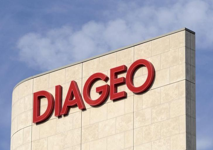 Signage is seen on the outside of Diageo offices in west London
