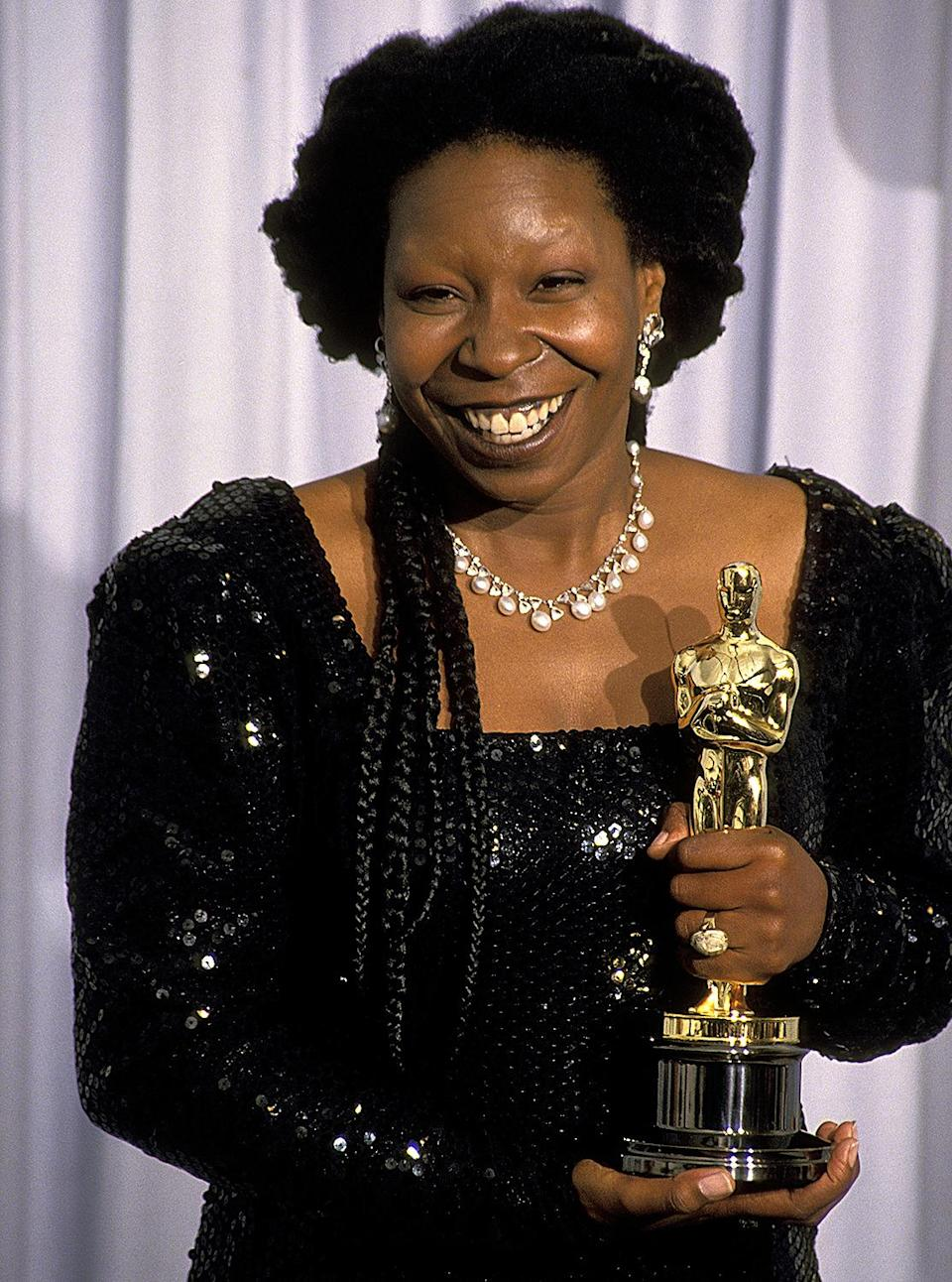 <p>Whoopi Goldberg won the Oscar for Best Supporting Actor for her performance in <em>Ghost. </em>She's the first Black actor to have received Academy Award nominations in both the Best Actress and Best Supporting Actress categories. </p>