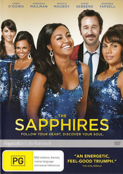 """This image is the DVD cover for the movie """"The Sapphires"""" distributed by Australian company Hopscotch Entertainment. The American distributor of the DVD, Anchor Bay Entertainment, is apologizing for the American version of the DVD cover, which some have called sexist and racist, and says it is considering new cover art for future shipments. The Australian cover shows four actresses of various races prominently in the foreground, and Chris O'Dowd, who plays their manager, in the background. Their positions are inverted on the American cover to showcase O'Dowd. (AP Photo)"""