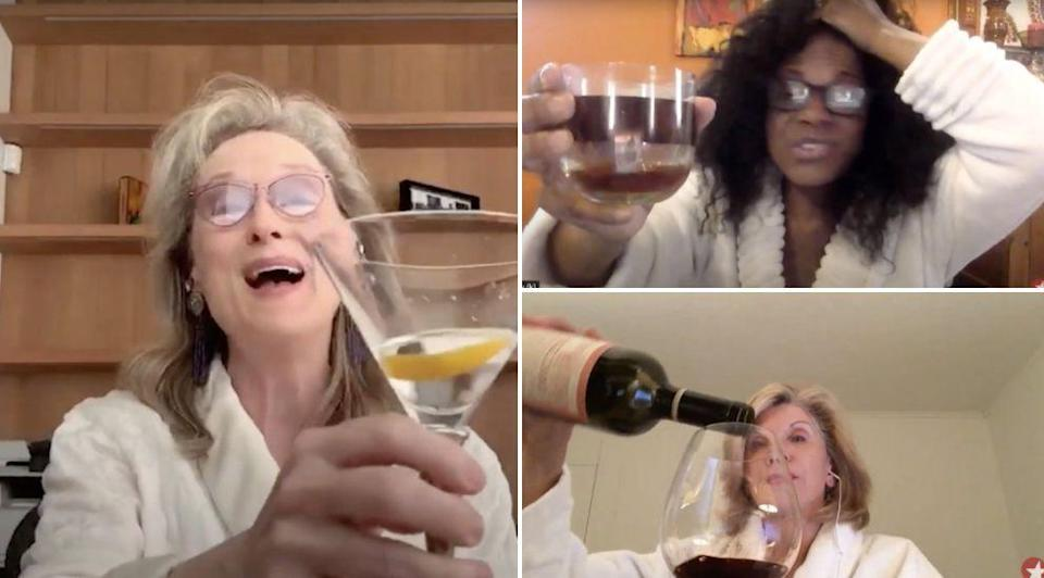 Meryl Streep And Her Girlfriends Singing In Their Bathrobes While Sipping Cocktails Is A Monday Mood