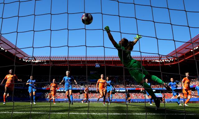 Vivianne Miedema of the Netherlands scores her team's first goal during the 2019 FIFA Women's World Cup France Quarter Final match between Italy and Netherlands at Stade du Hainaut on June 29, 2019 in Valenciennes, France. (Photo by Maddie Meyer - FIFA/FIFA via Getty Images)