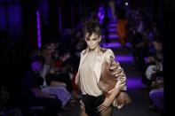 Kaia Gerber models fashion from the Tom Ford collection on Monday, Sept. 9, 2019, in New York. (AP Photo/Frank Franklin II)