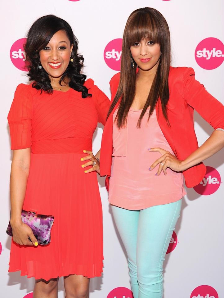 "Tamera Mowry Housley and Tia Mowry Hardrict (""T<a href=""http://tv.yahoo.com/tia-tamera-take-2/show/46068"">ia & Tamera</a>"") attend Style Network's Upfront Presentation at DVF Studio on April 18, 2012 in New York  City."