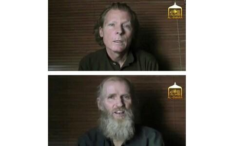 This two photo combination image taken from video released June 21, 2017, by the Taliban spokesman Zabihullah Mujahid, shows kidnapped teachers Australian Timothy Weeks, top, and American Kevin King, who were both abducted by the insurgents in Afghanistan in August 2016. Three ranking Taliban prisoners released by the Kabul government have been flown to Qatar for an expected swap for the American and the Australian hostage held by the insurgents since their abduction in 2016, Taliban officials said Tuesday, Nov. 19, 2019. (EL-EMARA Taliban via AP, File)