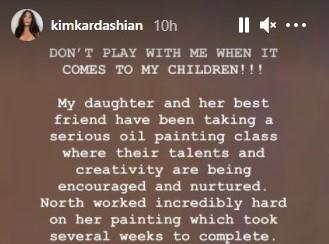 The reality star warned 'Don't mess with me when it comes to my kids'. (Kim Kardashian/Instagram)