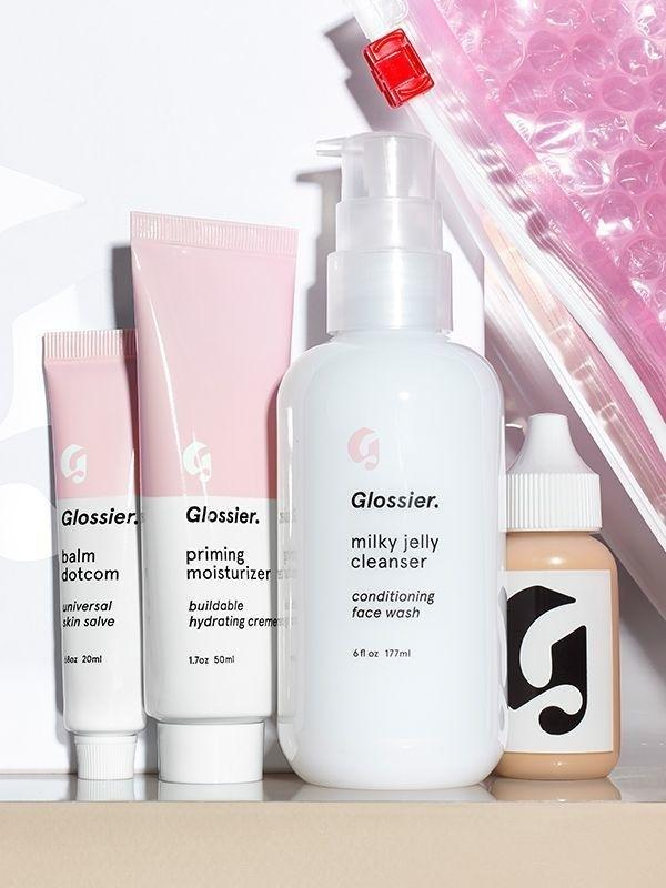 <p>Get back to the basics with this set of Glossier essentials. This set includes a few of the brand's bestsellers including lip balm, cleanser, moisturizer, and foundation. Even a woman who has no time for skincare can fit in this routine.</p>