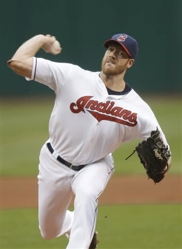 Cleveland Indians starting pitcher Zach McAllister delivers against the Oakland Athletics in the first inning of a baseball game Tuesday, May 7, 2013, in Cleveland. (AP Photo/Mark Duncan)