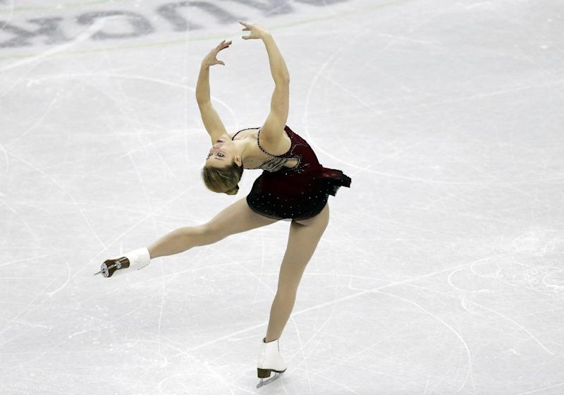 Ashley Wagner competes in the senior ladies short program at the U.S. figure skating championships, Thursday, Jan. 24, 2013, in Omaha, Neb. (AP Photo/Charlie Neibergall)