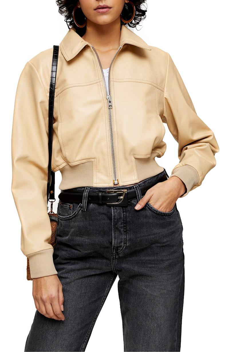 Topshop leather bomber jacket (Photo via Nordstrom)