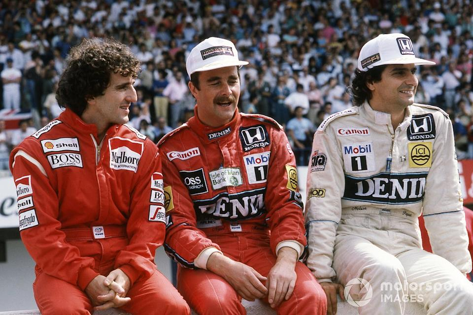"1986: Alain Prost, McLaren, Nigel Mansell, Williams y Nelson Piquet, Williams<span class=""copyright"">Sutton Motorsport Images</span>"