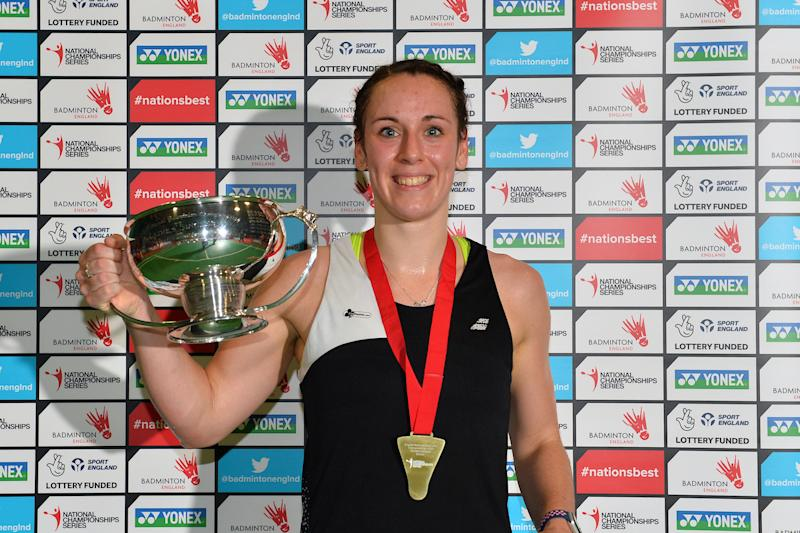 Chloe Birch celebrates a dual triumph at the England National Badminton Championships in Winchester (Credit: Alan Spink and Craig Burgess Photography)