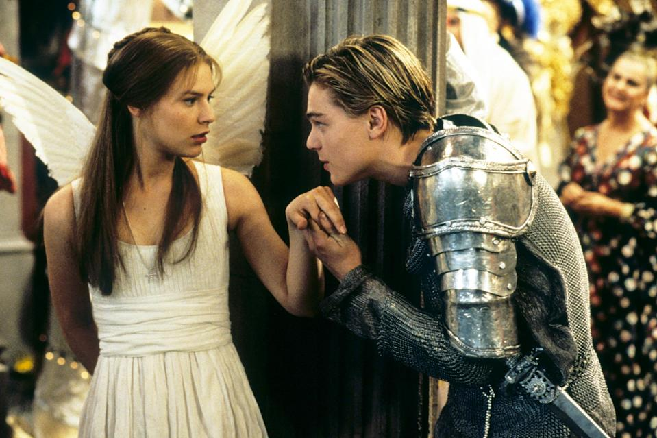 """<p>DiCaprio fares much better in his first collaboration with Baz Luhrmann, starring as Romeo opposite <a href=""""https://ew.com/tag/claire-danes/"""" rel=""""nofollow noopener"""" target=""""_blank"""" data-ylk=""""slk:Claire Danes"""" class=""""link rapid-noclick-resp"""">Claire Danes</a>' Juliet in <a href=""""https://ew.com/gallery/romeo-and-juliet-adaptations/"""" rel=""""nofollow noopener"""" target=""""_blank"""" data-ylk=""""slk:EW's fourth-ranked take"""" class=""""link rapid-noclick-resp"""">EW's fourth-ranked take</a> on William Shakespeare's famed tragedy. Thankfully, DiCaprio and company know exactly the movie they are in and go all-in on Luhrmann's use of Shakespeare's original dialogue in an MTV world. We all know where this story is headed but Leo sells the hell out of the final moments of this doomed romance.</p> <p><b>Related: </b><a href=""""https://ew.com/article/1996/09/06/set-baz-luhrmanns-romeo-and-juliet/"""" rel=""""nofollow noopener"""" target=""""_blank"""" data-ylk=""""slk:Baz Luhrmann's Romeo and Juliet: On set with Leonardo DiCaprio and Claire Danes"""" class=""""link rapid-noclick-resp"""">Baz Luhrmann's <i>Romeo and Juliet</i>: On set with Leonardo DiCaprio and Claire Danes</a></p>"""