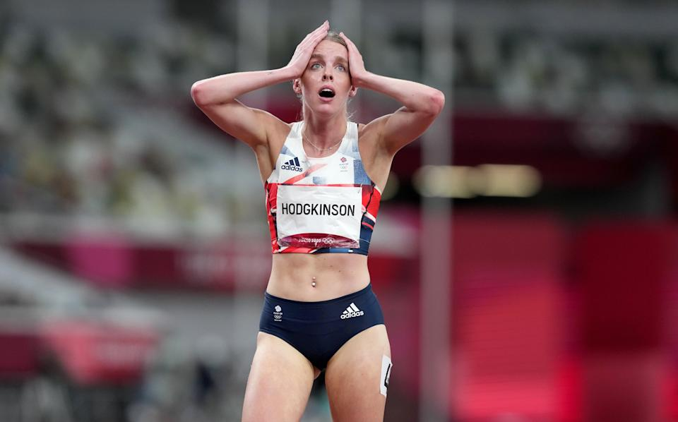 Hodgkinson reacts after her run in the final (Martin Rickett/PA) (PA Wire)