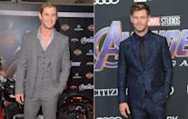 """<p>Thor blimey, talk about a glow up. Chris Hemsworth has come a long way in the last seven years. He recently <a rel=""""nofollow"""" href=""""https://uk.movies.yahoo.com/chris-hemsworth-exhausted-underwhelmed-thor-ragnarok-exclusive-123201006.html"""" data-ylk=""""slk:admitted being """"exhausted"""" by his Marvel character;outcm:mb_qualified_link;_E:mb_qualified_link;ct:story;"""" class=""""link rapid-noclick-resp yahoo-link"""">admitted being """"exhausted"""" by his Marvel character</a> before he was rebooted for <em>Thor: Ragnarok</em>. (Getty Images) </p>"""