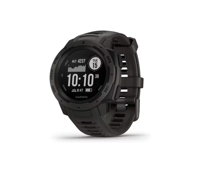 """<p><strong>Garmin</strong></p><p>amazon.com</p><p><strong>$199.99</strong></p><p><a href=""""https://www.amazon.com/dp/B07HYX9P88?tag=syn-yahoo-20&ascsubtag=%5Bartid%7C2142.g.36364738%5Bsrc%7Cyahoo-us"""" rel=""""nofollow noopener"""" target=""""_blank"""" data-ylk=""""slk:Shop Now"""" class=""""link rapid-noclick-resp"""">Shop Now</a></p><p>Built to military standards, Garmin's popular Rugged Instinct model can last up to 14 days in smartwatch mode. It can also monitor your estimated heart rate, activity, and stress, in addition to helping you train with preloaded activity profiles. </p><p><em>[<a href=""""https://www.runnersworld.com/gear/a20827055/advanced-gps-watches-for-runners/"""" rel=""""nofollow noopener"""" target=""""_blank"""" data-ylk=""""slk:The Most Advanced GPS Watches for Runners"""" class=""""link rapid-noclick-resp"""">The Most Advanced GPS Watches for Runners</a>]</em></p>"""