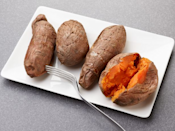 <p>Scrub 4 medium sweet potatoes, poke a few times with a fork and microwave until tender, rotating a few times, for 6 to 8 minutes.</p>