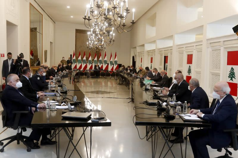 Lebanon's President Michel Aoun heads a meeting with Lebanese officials at the presidential palace in Baabda