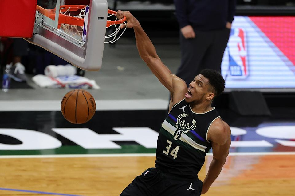 Giannis Antetokounmpo and the Milwaukee Bucks have stumbled a bit in the first half of the season. (Photo by Stacy Revere/Getty Images)