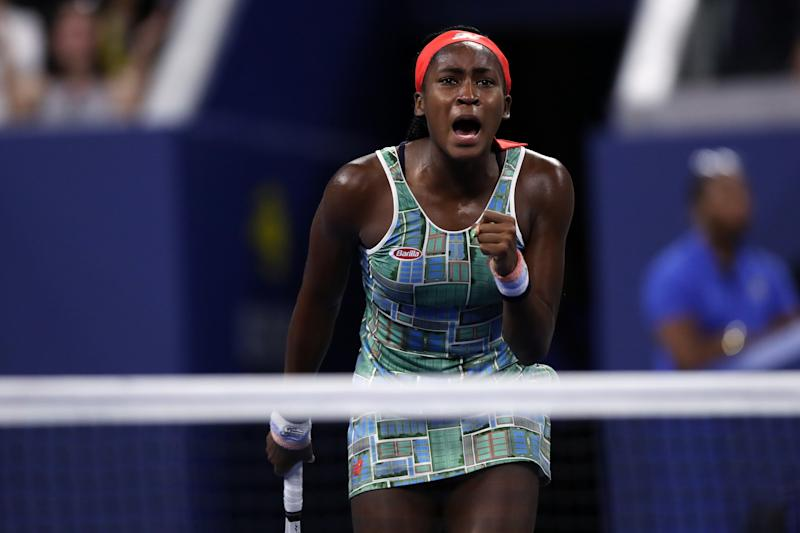 "Cori ""Coco"" Gauff beat Timea Babos of Hungary on Thursday night to advance to the third round of the US Open in New York."