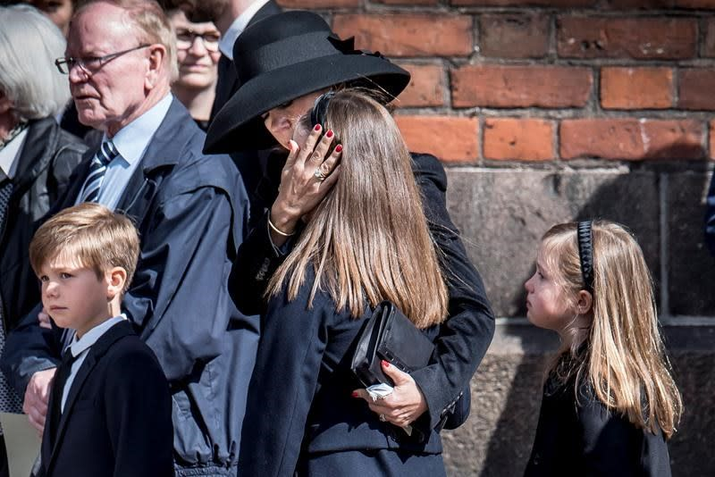 Princess Mary attends funeral of ASOS billionaire's three children