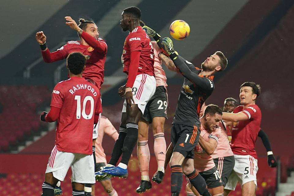 <p>David de Gea felt he was fouled for the opening goal</p> (POOL/AFP via Getty Images)