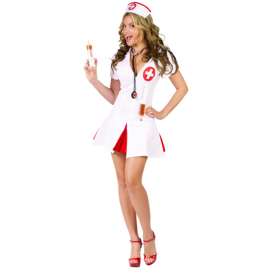 This sexy nurse costume comes with a matching cap, stethoscope and two faux syringes. (Photo: Spirit Halloween)