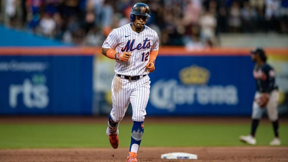 Jun 23, 2021; New York City, New York, USA; New York Mets shortstop Francisco Lindor (12) rounds the bases after hitting a two run home run against the Atlanta Braves during the second inning at Citi Field.