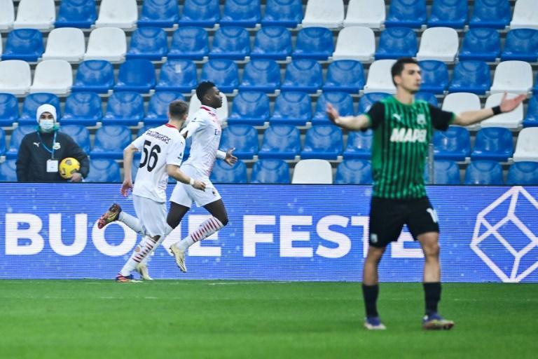 AC Milan forward Rafael Leao (2ndL) scored after six seconds against Sassuolo to set a Serie A record for the fastest-ever goal.