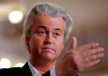 File picture of Dutch far-right Party for Freedom leader Wilders answering questions during a Reuters interview in Budapest