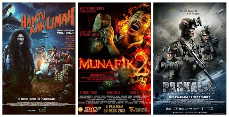 The top three films of all time in Malaysia were released in 2018. — Pictures via Astro Shaw, Skop Productions and Golden Screen Cinemas