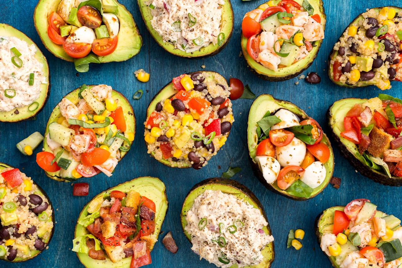 "<p>Just whip up your favorite sandwich filling, dip, or mini meal and stuff it into the perfect pit-shaped bowl.</p><p>Get great ideas from <a rel=""nofollow"" href=""http://www.delish.com/cooking/g3374/stuffed-avocados/"">Delish</a>.</p>"