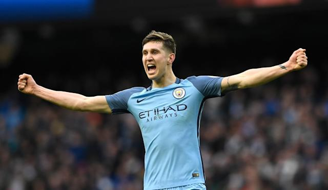 <p>John Stones of Manchester City celebrates during the Premier League match between Manchester City and Swansea City at Etihad Stadium on February 5, 2017 in Manchester, England. </p>
