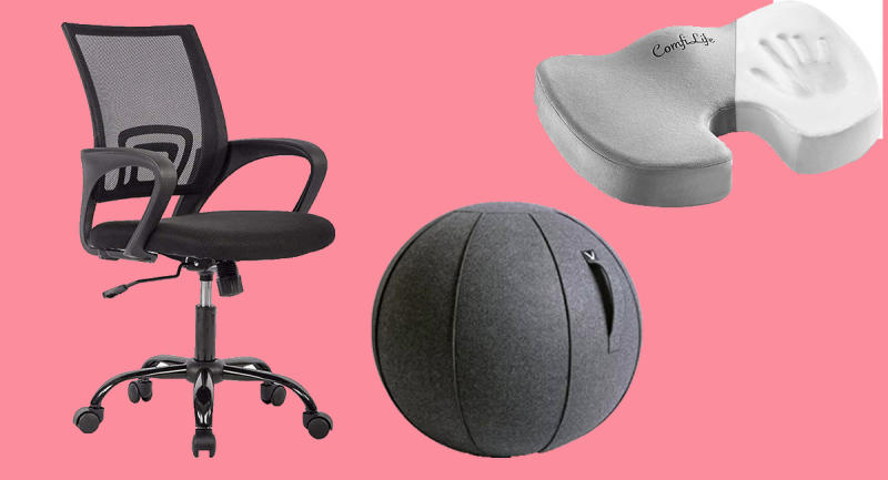 BestOffice Ergonomic Desk ChairVivora Luno Sitting Ball ChairComfiLife Premium Comfort Seat Cushion. (Photo: Amazon)