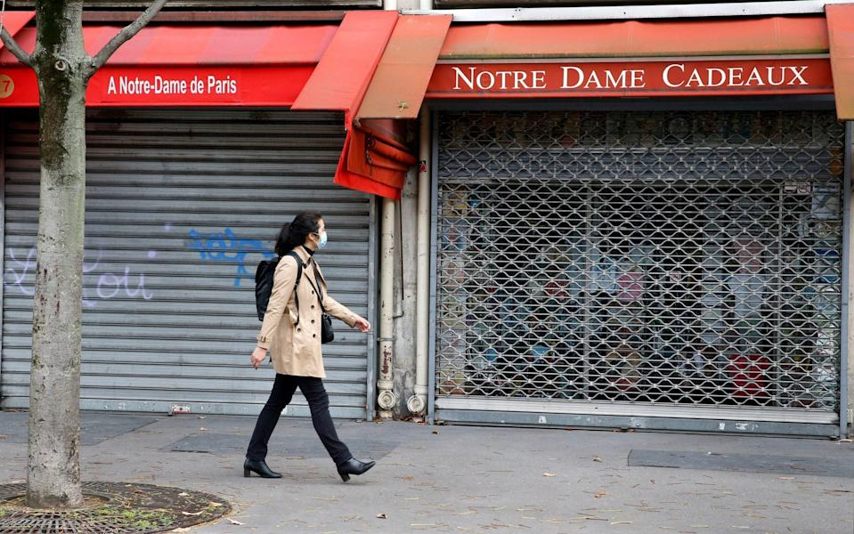 Measures taken by the French government to curb the disease have left many shops and bars closed - Chesnot/Getty Images