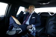 <p>Biden rides back to Atlantic City International Airport after attending a fundraiser for New Jersey governor Jon Corzine October 7, 2009. </p>