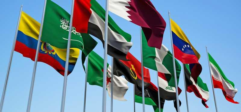 Flags of the 14 OPEC nations.