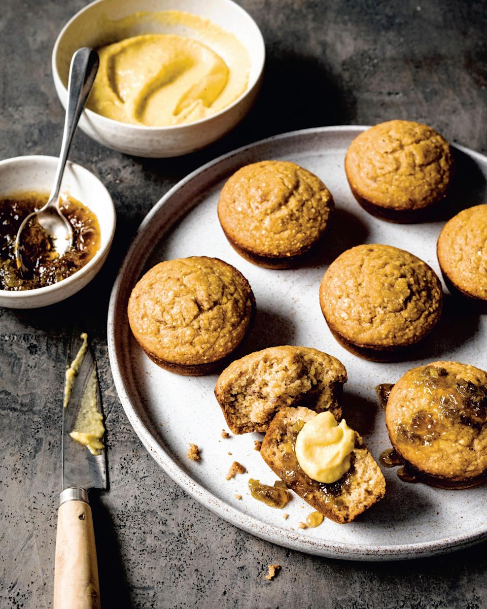 "These vegan cornbread muffins from chef Bryant Terry get a special summer topping of creamy whipped corn and <a href=""https://www.epicurious.com/recipes/food/views/jalapeno-pepper-jelly-bryant-terry?mbid=synd_yahoo_rss"" rel=""nofollow noopener"" target=""_blank"" data-ylk=""slk:homemade pepper jelly"" class=""link rapid-noclick-resp"">homemade pepper jelly</a>. <a href=""https://www.epicurious.com/recipes/food/views/cornbread-muffins-with-whipped-sweet-corn?mbid=synd_yahoo_rss"" rel=""nofollow noopener"" target=""_blank"" data-ylk=""slk:See recipe."" class=""link rapid-noclick-resp"">See recipe.</a>"