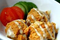 "<p>Who doesn't love a falafel? Pop these nutritional powerhouses in a pita for a sweeter - and altogether neater - lunchtime boost.</p><p>Get the recipe from <a href=""http://www.glowkitchen.com/2012/10/baked-sweet-potato-falafel/"" rel=""nofollow noopener"" target=""_blank"" data-ylk=""slk:Glow Kitchen"" class=""link rapid-noclick-resp"">Glow Kitchen</a>.</p><p><br></p>"