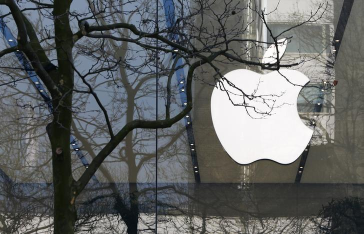 An Apple logo is seen at the entrance of an Apple Store in downtown Brussels