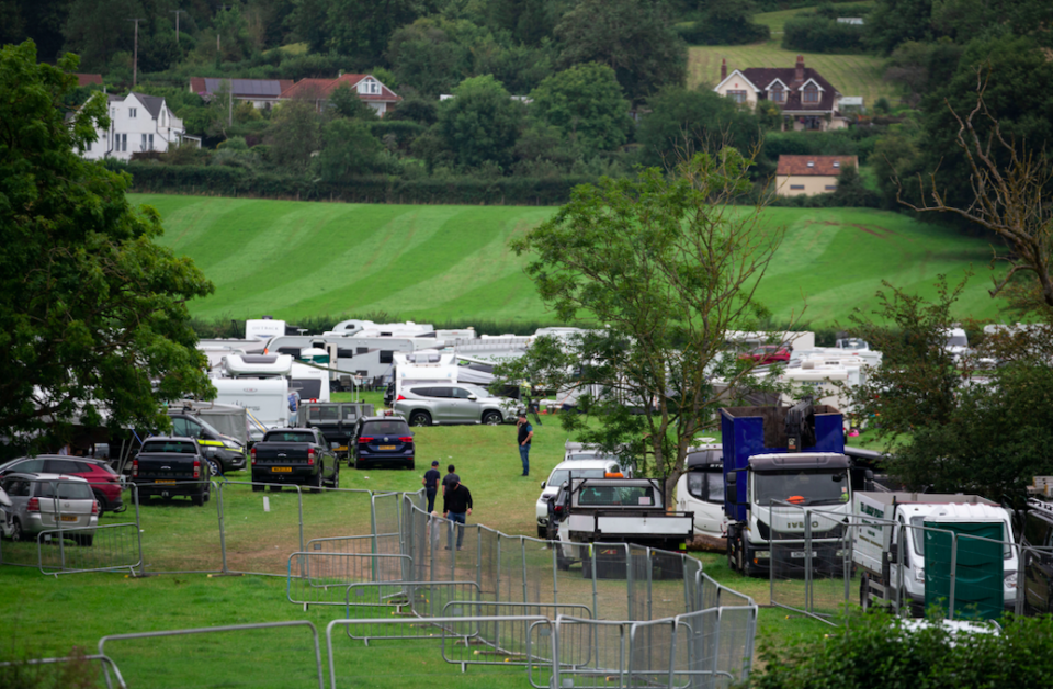 Almost 100 caravans, campervans and trailers arrived in Cheddar, Somerset, on Monday. (SWNS)