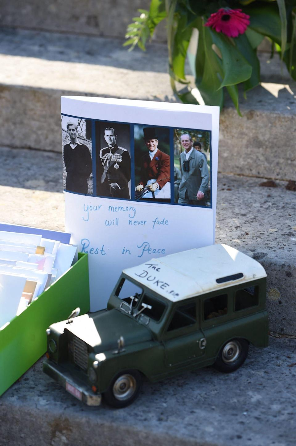 Prince Philip's passion forLand Rovers was well known among his fans.Someone even paid respects to the duke, following his death at 99 on April 9, by leavinga model version of a Land Rover outside Buckingham Palace as a message of condolence.