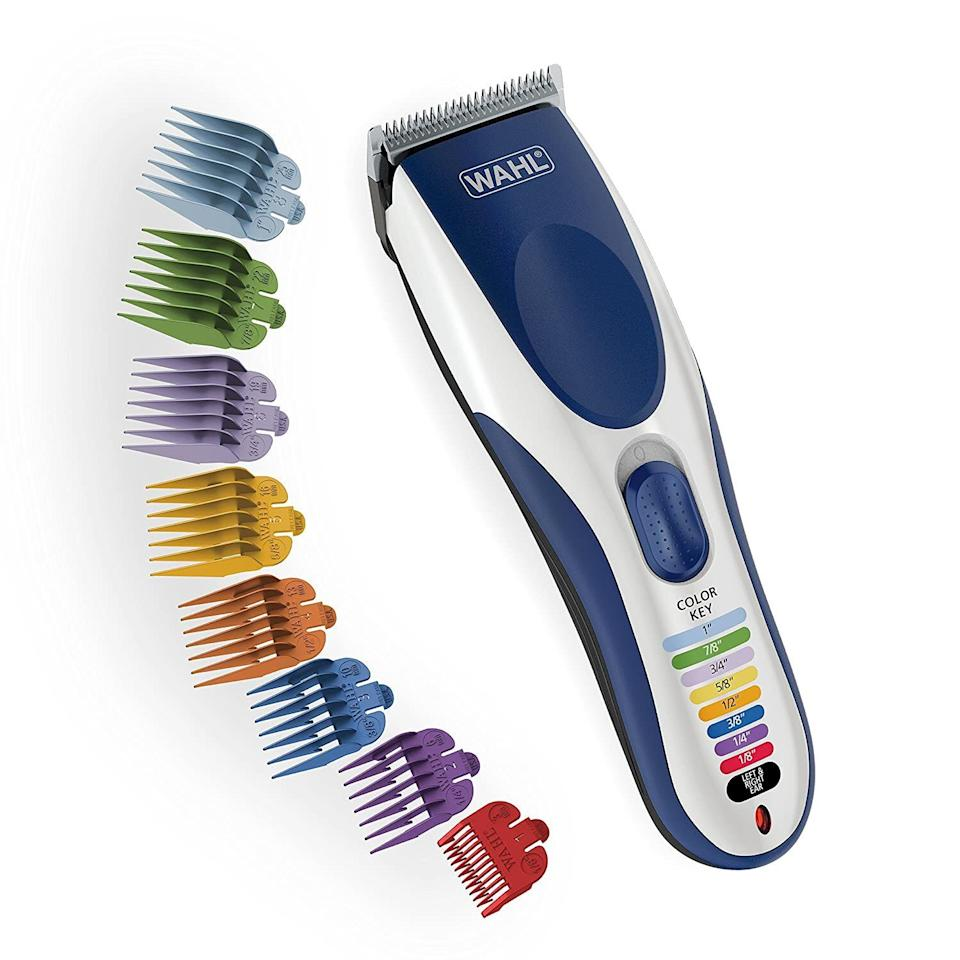 """It's designed to be beginner-friendly, so you can give yourself and other people decent haircuts if you can't get to a salon. It comes with color-coded combs to guide you to the precise length of hair, along with a mode for cutting hair near the ears, so it's as close to foolproof as a non-experienced hair-cutter can get.Each set comes with color-coded blades that correspond to the trimmer, two combs, a scissor and a carrying case to store it all.<strong>Psst — dog owners!! A lot of people are also using this on their furry friends</strong>if they haven't been able to get to the vet or a groomer.<br /><br /><strong>Promising review</strong>: """"Bought this for the COVID shutdown, and my wife has used it to give five haircuts total to me and our teenage sons<strong>. It comes with directions that help a lot, tons of height selectors, and even scissors and comb: a very complete haircut kit.</strong>She's never cut hair before, but we look about like what we did coming out of our $15/cut local barbershop, so ... """" —<a href=""""https://www.amazon.com/gp/customer-reviews/R2W4KLUYPA0PCN?&linkCode=ll2&tag=huffpost-bfsyndication-20&linkId=20099add843643d21ba27713846ce757&language=en_US&ref_=as_li_ss_tl"""" target=""""_blank"""" rel=""""noopener noreferrer"""">Amazon Customer</a><br /><br /><strong>Get it from Amazon for <a href=""""https://www.amazon.com/dp/B01N0993NM?&linkCode=ll1&tag=huffpost-bfsyndication-20&linkId=95fade089ffa404c6597d0270d26f82f&language=en_US&ref_=as_li_ss_tl"""" target=""""_blank"""" rel=""""noopener noreferrer"""">$28.56</a>.</strong>"""