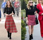 <p>Kate Middleton was not only festive in a black sweater, a red plaid pleated skirt, and boots for a Christmas party in 2018, she was also on trend. Only a few days after the Duchess rocked this look, Reese Witherspoon was spotted out and about in Los Angeles wearing a nearly identical ensemble. </p>