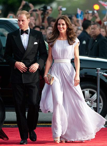 Photo by: Getty Images Middleton in Alexander McQueen at the BAFTA Brits to Watch event in Los Angeles, July 2011Ever since Middleton wore a breathtaking Alexander McQueen gown on her wedding day, the Duchess has opted to wear McQueen designs for many big events. Here the Duchess accessorized her lilac dress with a clutch and sandals from London-based Malaysian designer Jimmy Choo.
