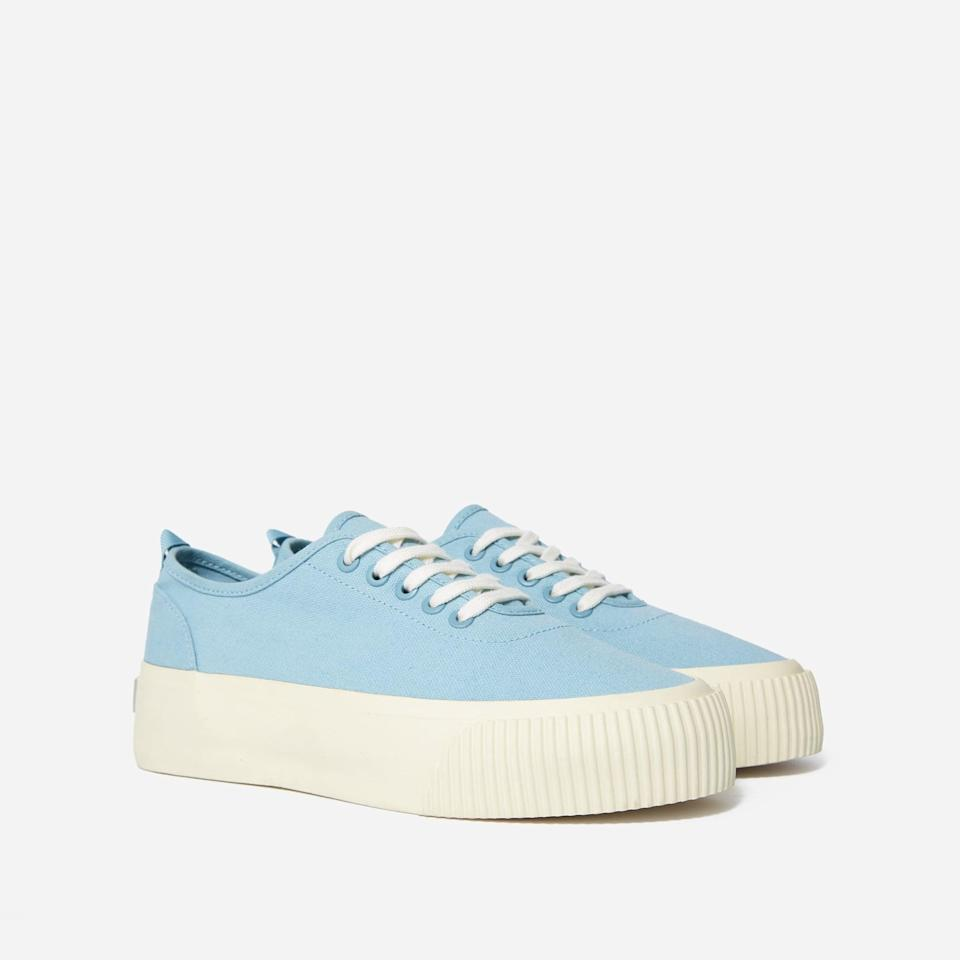 <p>Made in a powdery blue hue primed for spring and summer, this <span>Everlane The Forever Platform Sneaker</span> ($70) features an organic cotton upper, so does it part to preserve water and reduce toxic chemical usage.</p>