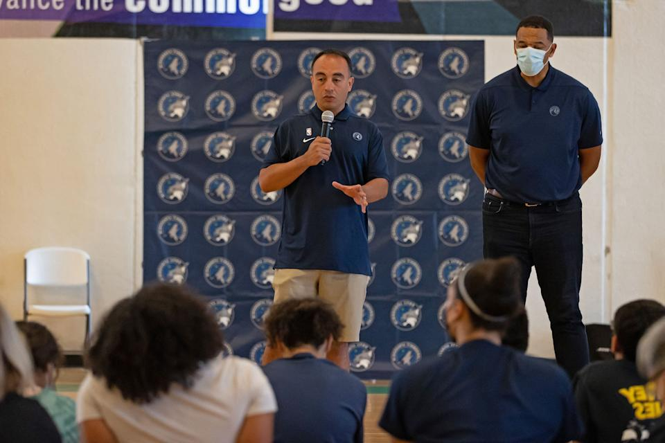 The Minnesota Timberwolves abruptly fired president of basketball operations Gersson Rosas on Wednesday. (David Sherman/NBAE via Getty Images)