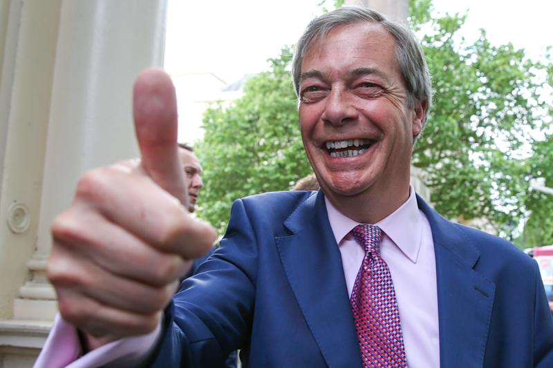 LONDON, UK, UNITED KINGDOM - 2019/05/27: Nigel Farage, leader of the Brexit Party and a Member of the European Parliament ( MEP) for South East England is seen giving a thumbs up as he arrives at the EU election results press conference in Westminster. The newly formed Brexit Party wants the UK to leave the EU without an agreement won 10 of the UK's 11 regions, gaining 28 seats, more than 32% of the vote across the country and are largest party in nine regions. (Photo by Dinendra Haria/SOPA Images/LightRocket via Getty Images)