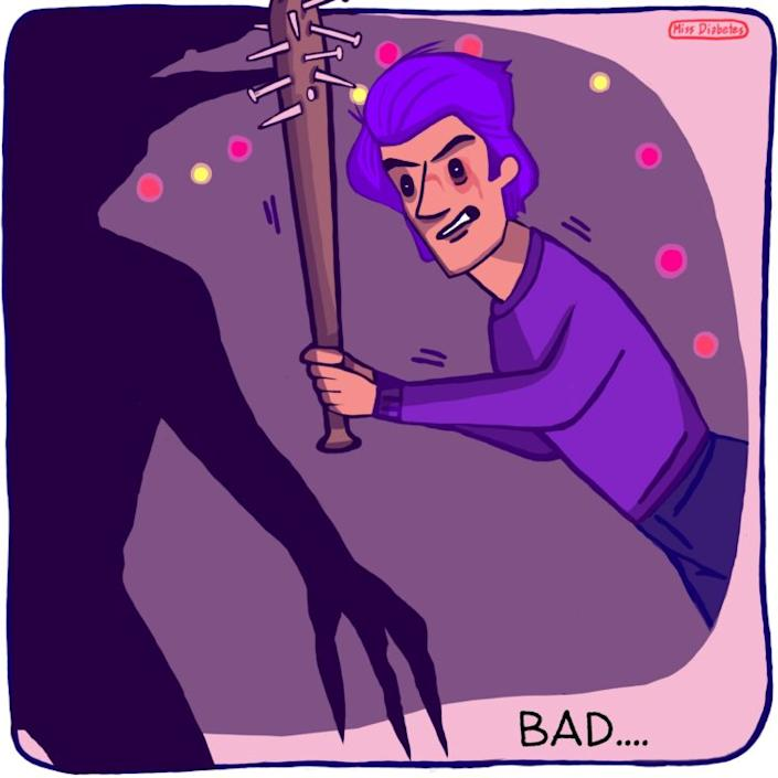 """boy holding bat with nails in it , text """"bad"""""""